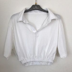 cropped white polo shirt with elastic waistband